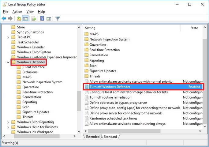 cant disable windows defender windows 8