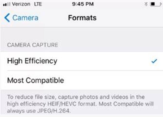 Photos and Videos Taking up Less Space: