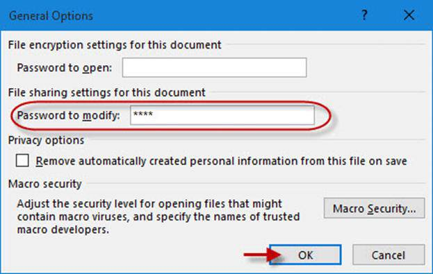 password to modify