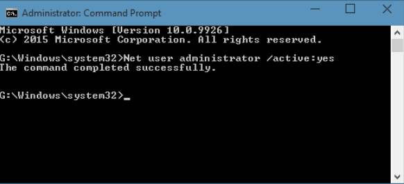 activate admin using command prompt