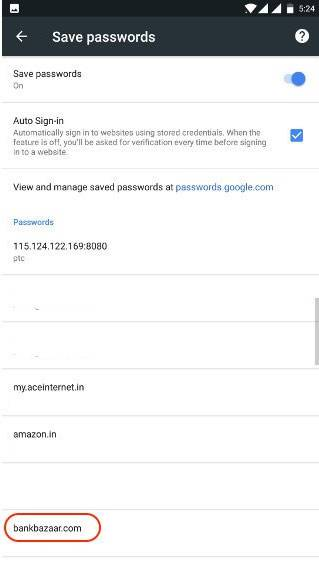 view saved password on Android
