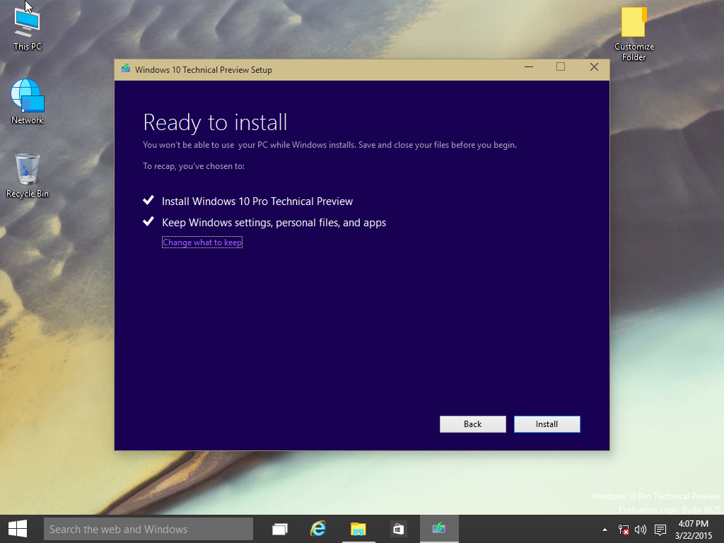 windows 10 ready install