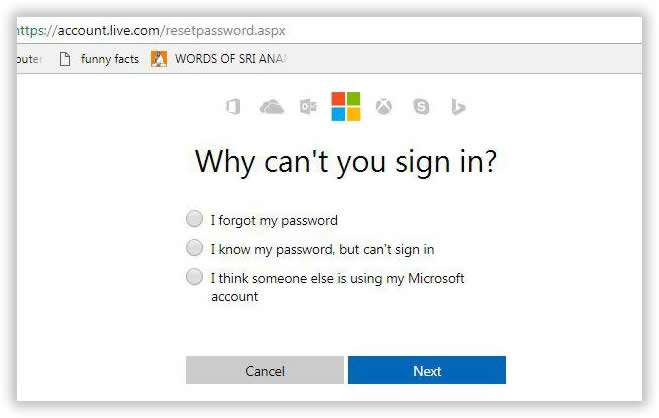 how to reset password on hotmail