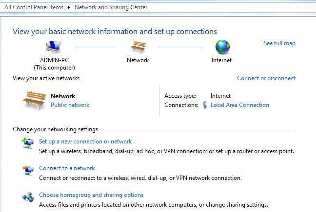 Open Network and Sharing Center in the Control Panel.