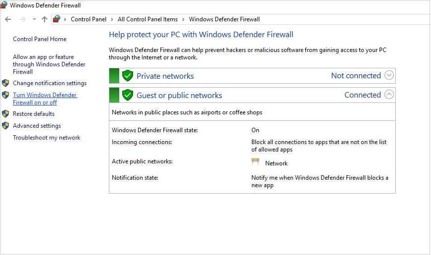 Turn Windows Firewall on or off