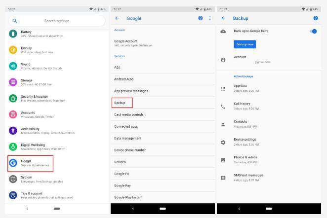 backup Android messages on Google