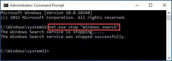 "net.exe stop ""Windows search"""