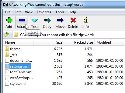 remvoe word passowrd using zip tool
