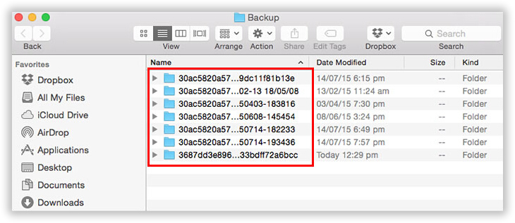 fid iTunes backup on mac