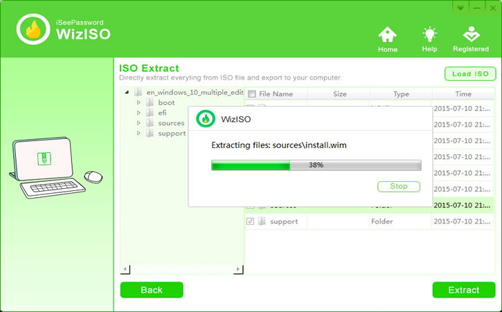 start to extract ISO file