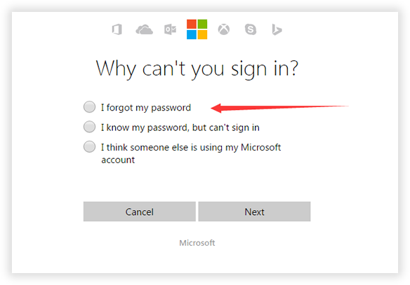 reset password via Microsoft