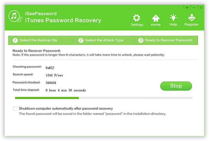 start to recover iTunes backup password
