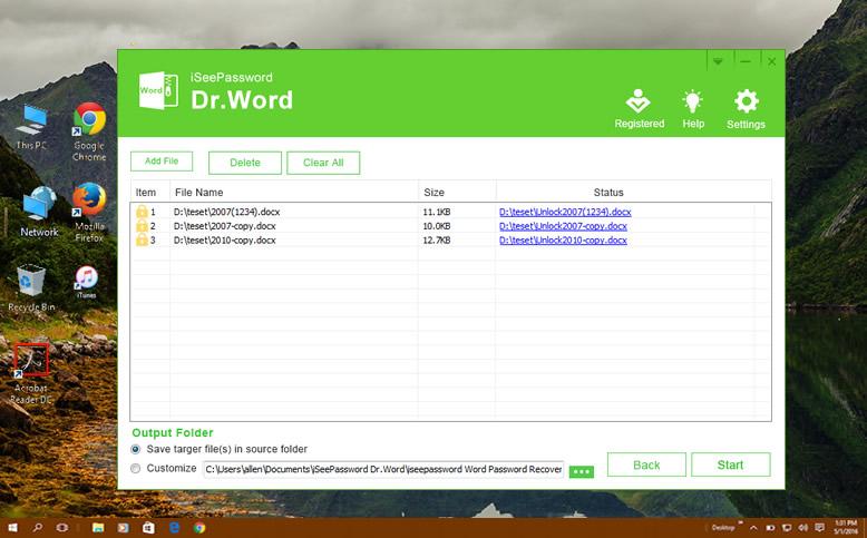 forgot password on word document 2010