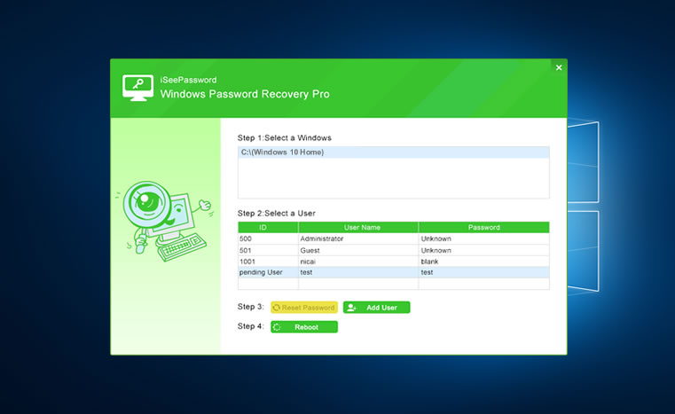 start to reset your windows password