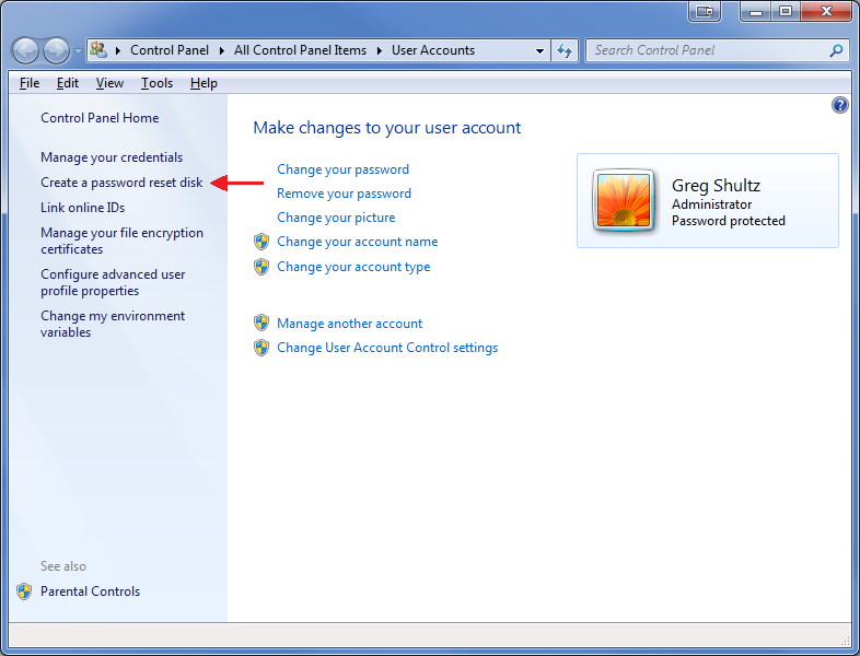 reset password windows 7 without reset disk