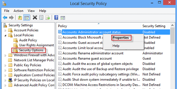 Enter local security policy
