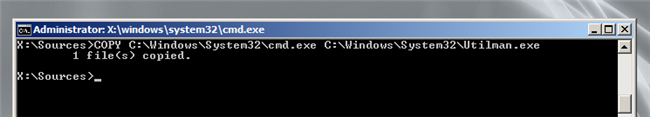 copy cmd.exe and rename it Utilman.exe: