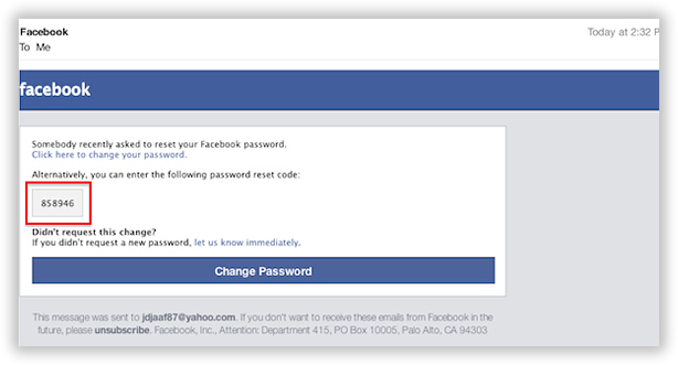 find facebook password