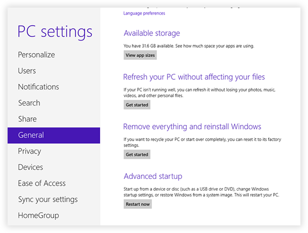 How to Restore and Reset Windows 8 Tablet to Factory Settings
