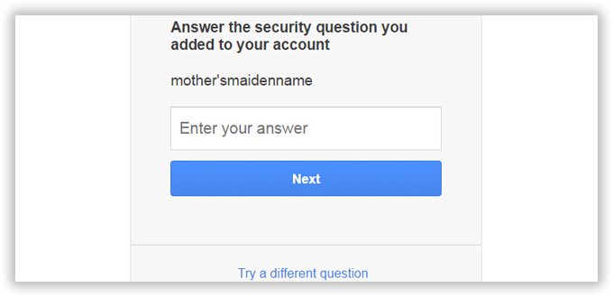 reset gmail password by answering question