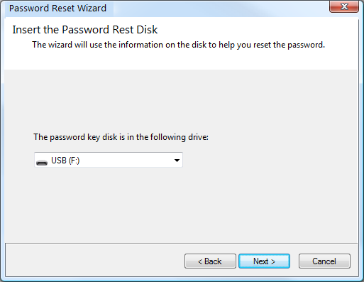 Insert your passwrod reset disk