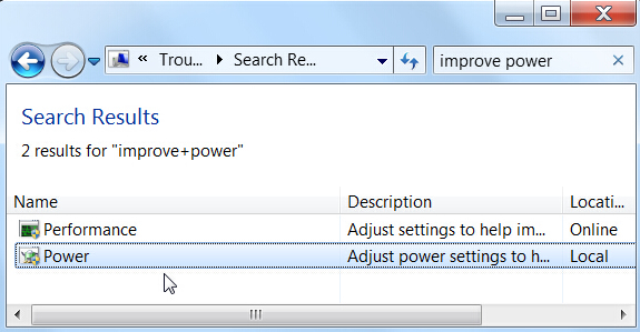 Start Power Troubleshooter