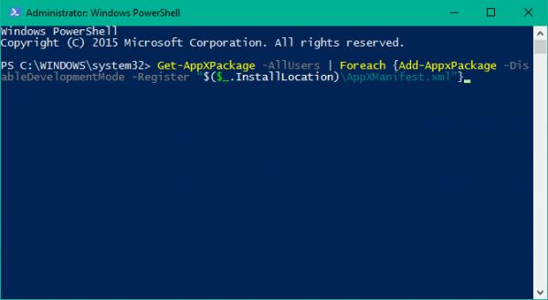 Re-registering the Taskbar using Windows Powershell