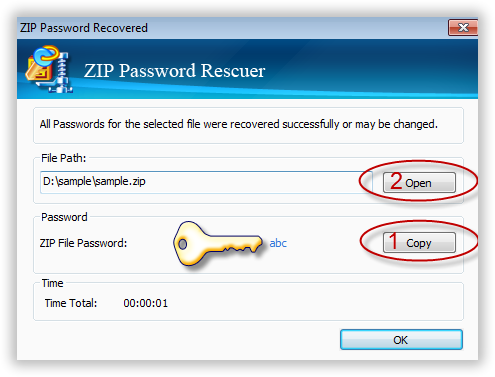 find zip password